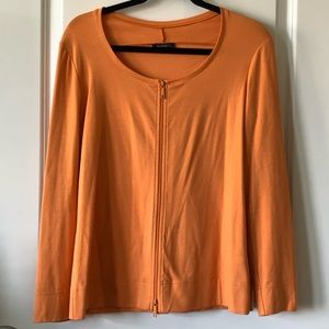 Lafayette 148 Orange Cotton zippered Sweater
